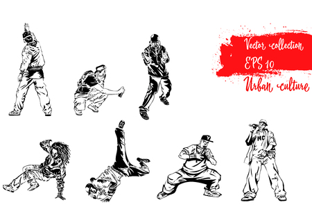 Set of illustrations with representatives of Urban Culture. Breakdancers, rapers and graffiti artists. Extreme theme modern print. Vector design elements.