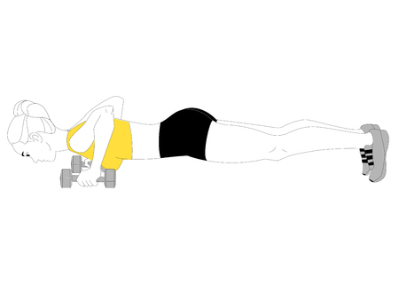 The girl is doing sports exercises bench press with dumbbells isolated on white background. Vector