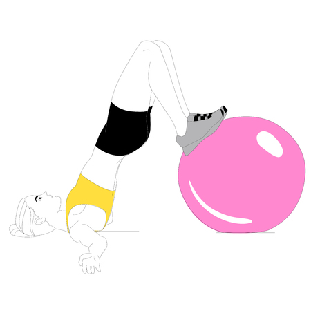 The girl is doing sports exercises with fitness ball isolated on white background. Vector Illustration