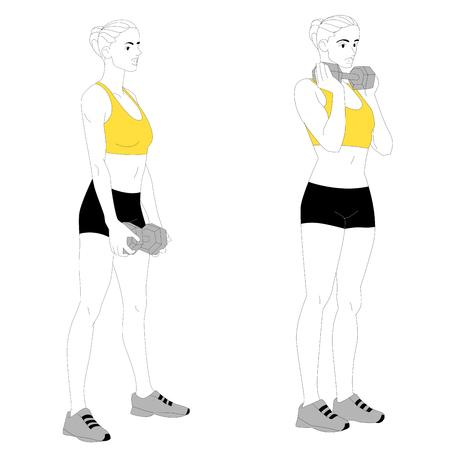 Girl exercising. Illustration