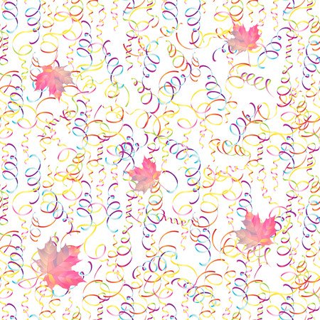 Background with serpentine and falling maple leaves. Vector Illustration
