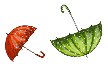 Two opened green and red umbrellas isolated on white background. Vector Illustration.