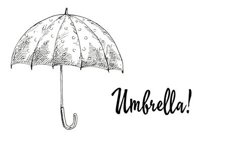 contoured: Opened umbrella in black outline . Vector illustration