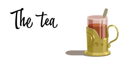 british culture: Transparent glass of tea isolated on white background. Vector illustration