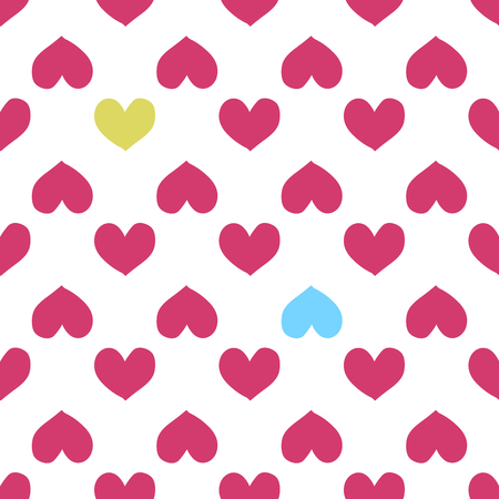 Fun seamless heart background. Valentine s Day, Mother s Day, Easter, wedding, scrapbook, gift wrapping paper, textiles. Vector Illustration Illustration