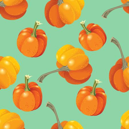 Orange pumpkins seamless pattern n blue. Vector illustration