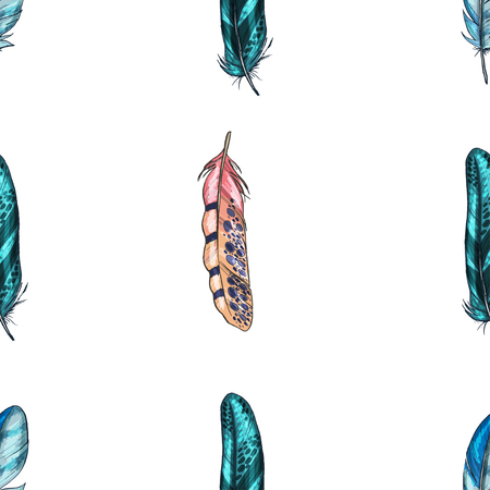 Vector seamless pattern with colorful detailed bird feathers.