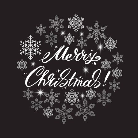 contoured: Merry Christmas lettering surrounded by snowflakes.