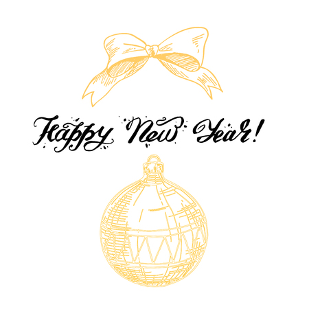 Happy New Year lettering Greeting Card. Vector illustration.