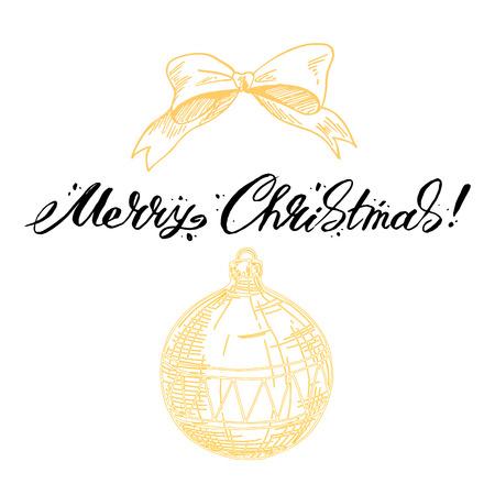 Merry Christmas lettering Greeting Card. Vector illustration. Illustration
