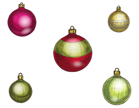 Colorful christmas balls. Set of isolated decorations. Vector illustration.