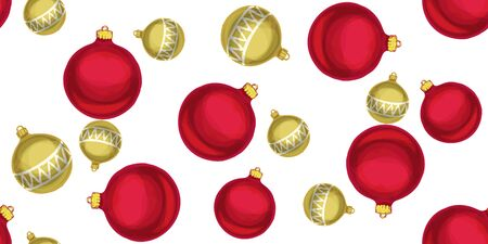 Seamless Christmas pattern with Christmas balls. Vector illustration.