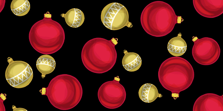 Seamless Christmas pattern with Christmas balls on a black background. Vector illustration.