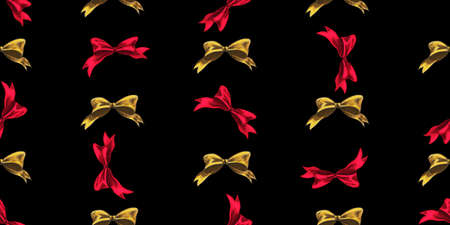 Seamless Christmas pattern with Christmas bows on a black background. Vector illustration.