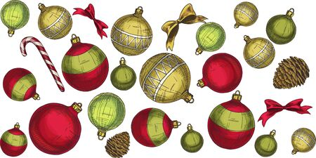 Seamless Christmas pattern with elements and decorations. Vector illustration. Illustration