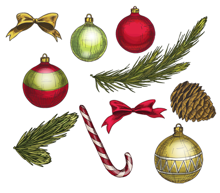 Set of colorful christmas elements and decorations. Vector illustration Illustration