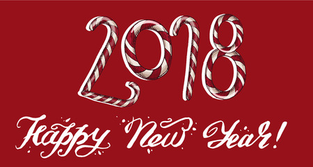 New Year 2018 . Winter card with candies andHappy New Year lettering on a red background. Vector illustration Illustration