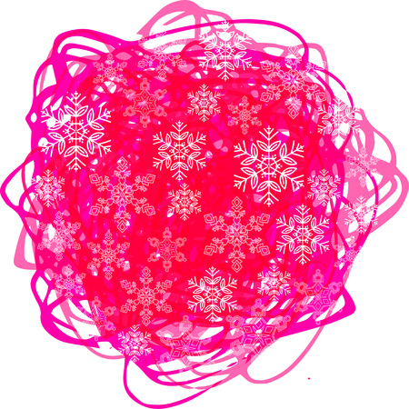 contoured: Christmas card with snowflakes on a pink spot, Vector illustration.