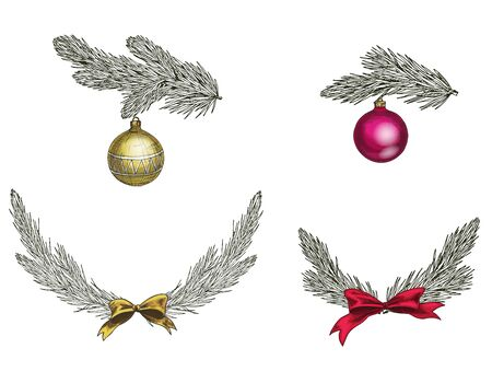 Set of Christmas tree branches with decoration. Symbol of Christmas and New Year isolated on white background. Vector illustration.
