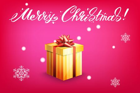 Card with gift box and letting Merry Christmas. Bright red background and snowflakes. Vector illustration. Illustration