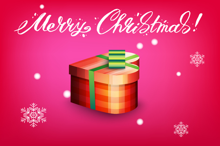 Card with gift box and letting Merry Christmas. Bright red background and snowflakes. Vector illustration