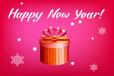 Card with gift box and letting Happy New Year. Bright red background and snowflakes. Vector illustration. Illustration