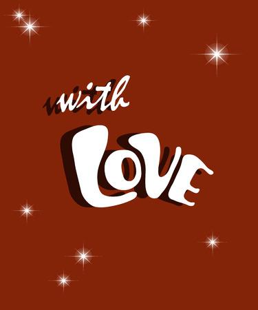 Gelukkig Nieuwjaarskaartvieringsconcept met Liefdetekst. Vector illustratie. Stock Illustratie