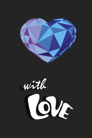 Card celebration concept With Love text and crystal heart. Vector illustration.