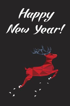 Gelukkig Nieuwjaar belettering wenskaart met een hert. Vector illustratie. Stock Illustratie