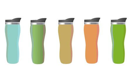 Mock up of thermos cups. Mugs of different colors for hot coffee, tea and water. Isolated vector illustration on white background. Illustration