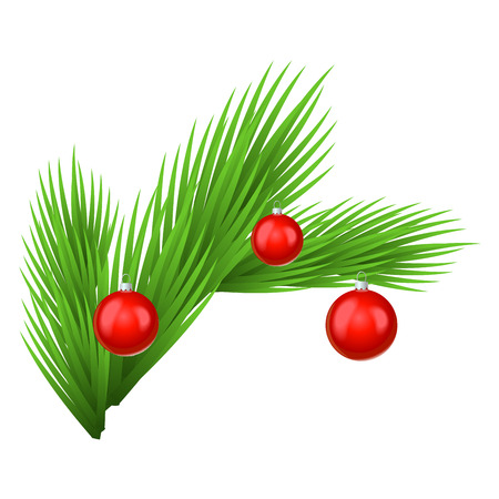Green lush spruce branch decorated with red toy balls. Isolated on white vector illustration. Vetores