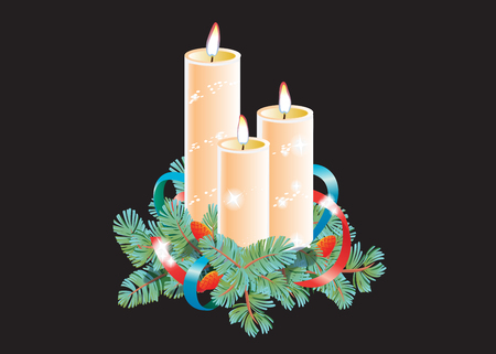 Christmas decorative composition. Three burning wax candles decorated with spruce branch and ribbon. Vector illustration isolated on black background.
