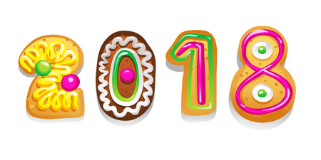Gingerbread figures. Number 2018 made of cookies. New Year winter card. Vector illustration