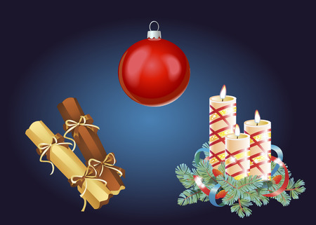 Set of Christmas and New Year decoration and holiday elements. Vector illustration