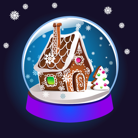 Magic Christmas snow globe vector illustration. Glass snowglobe gift with small house, winter pine tree and falling snow inside.