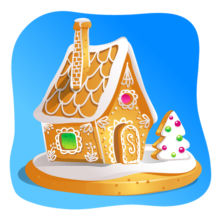 Gingerbread house decorated candy icing and sugar. Christmas cookies, traditional winter holiday xmas homemade baked sweet food vector illustration. Illustration