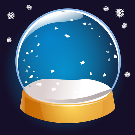 Snow globe empty isolated on black background. Christmas magic ball. Snowglobe vector illustration. Winter in glass ball, crystal dome icon Illustration