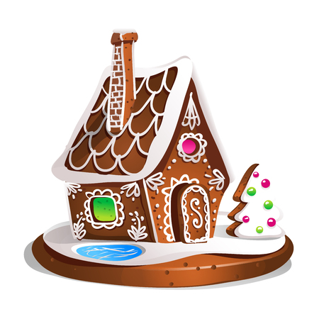Gingerbread house decorated candy icing and sugar. Christmas cookies, traditional winter holiday xmas homemade baked sweet food vector illustration. Vettoriali