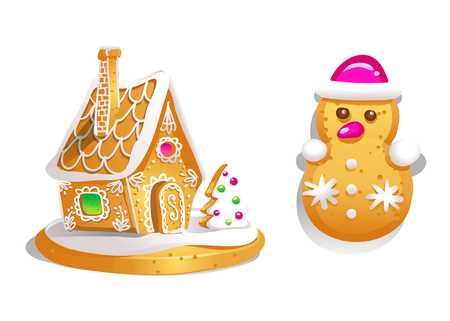 Gingerbread house decorated candy icing and snowman . Christmas cookies, traditional winter holiday xmas homemade baked sweet food vector illustration Illustration