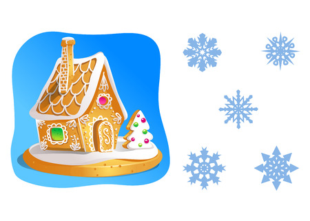 Gingerbread house decorated candy icing and a set of snowflakes isolated on white. Vector illustration. Illustration