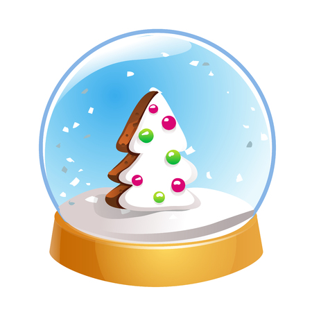 Snow globe with Christmas fir tree inside isolated on white background. Christmas magic ball. Snowglobe vector illustration. Winter in glass ball, crystal dome icon