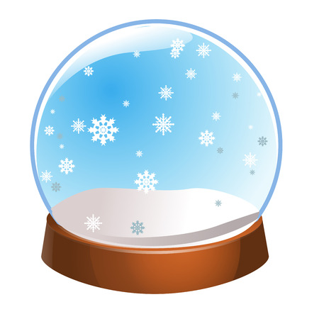 Snow globe with snowflakes inside isolated on white background. Christmas magic ball. Snowglobe vector illustration. Winter in glass ball, crystal dome icon.