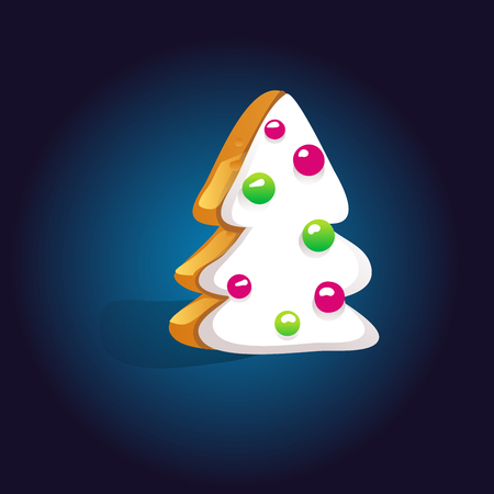 Cute gingerbread cookies for christmas with a Christmas tree on a dark background. Vector illustration