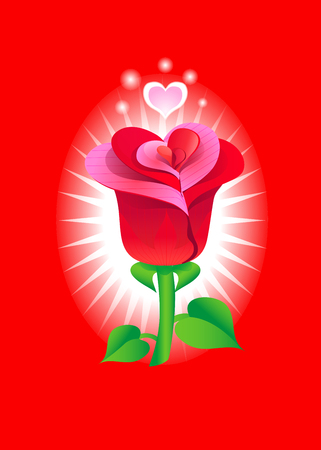 Romantic greeting card with rose. Vector illustration for Valentines day