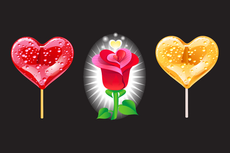 Set of romantic lollipops in the shape of a heart on a black. Sweetness for Valentines day. Vector illustration.