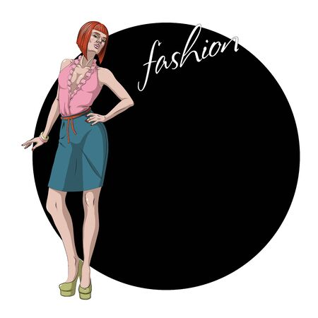 Fashion Vector Illustration. Beautiful young model woman is posing
