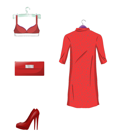 Elegant set of female clothes and accessories in red color. Isolated on white background vector illustration.