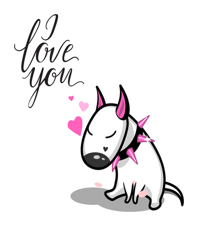 Cute vector cartoon dog. White Bull Terrier in love. I love you lettering 일러스트