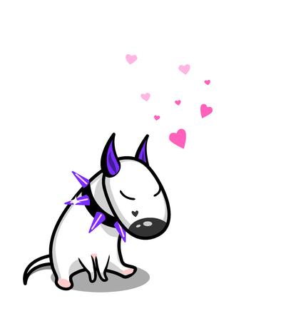 Cute vector cartoon dog. White Bull Terrier in love