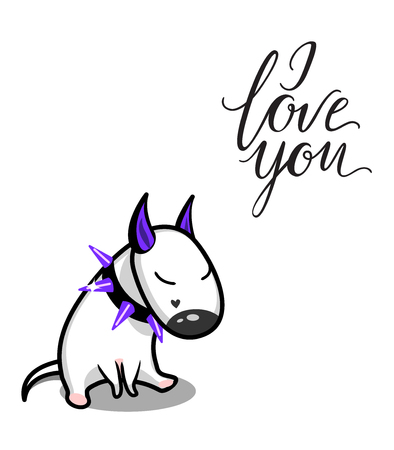 Cute vector cartoon dog. White Bull Terrier in love. I love you lettering Illustration